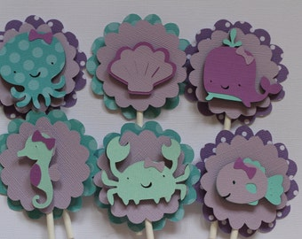 Under the Sea cupcake toppers, Sealife cupcake toppers,Set of 12, Purple and Turquoise Mermaid Party