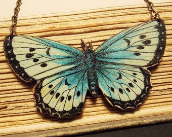 Blue and White Butterfly Statement Necklace