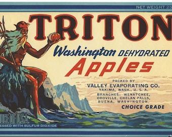 Vintage  Triton Washington Dehydrarted Apples Fruit Crate Labels
