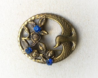 Vintage antique bronze brooch art nouveau style with bird and roses