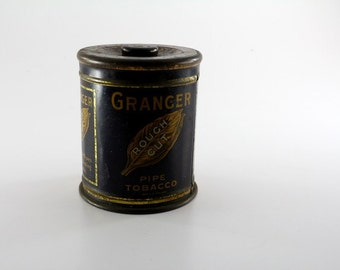Vintage Granger Rough Cut Pipe Tobacco Tin- Art Deco Tobacco Advertising Industrial Rustic