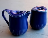 Vintage Dansk Deep Blue Coffee Creamer and Sugar Set // Cream and Sugar // Dansk Ceramic