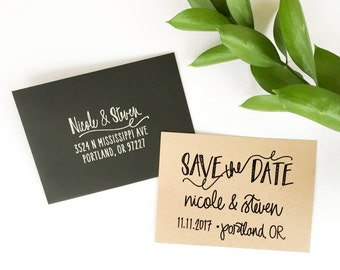 Save The Date stamp - Scribble design - custom save the date rubber stamp - custom wedding calligraphy - personalized save the date - H1700