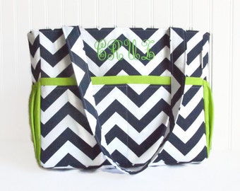 Personalized Chevron Diaper Bag in Navy Blue and Lime Green Lining or Choose Your Own 12 Pockets Zipper Closure
