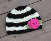 Black and Cream Striped Little Girl Hat with Pink Flower and Green Leaves, Baby Girl Crochet Hat, Toddler Girl Hat