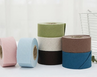 Linen Bias Tape in 7 Colors 3.5 cm Wide (1.4 inches) - By the Roll (10 yards) - 90852