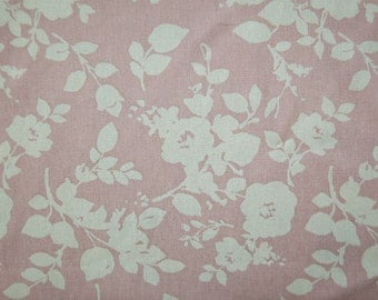 Flowers Cotton Linen Fabric - Pink - By the Yard 84340