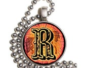 """Letter """"R"""" Art Pendant, Alphabet Resin Pendant, Vintage Initial  Photo, Silver Nickel Coin Charm Necklace"""