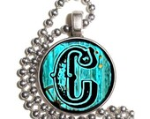 "Letter ""C"" Art Pendant, Alphabet Resin Pendant, Vintage Initial  Photo, Silver Nickel Coin Charm Necklace"