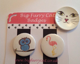 Pair of badges featuring an owl and a flamingo