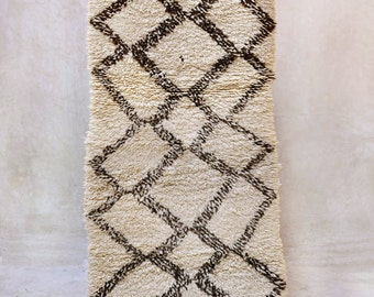 "WAVE RIDER 6'5"" x 2'5"" Boucherouite Rug. Tapis Moroccan. Teppich Berber. Mid Century Modern Danish Design Compliment. FA15-135"