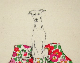 Print of 'Whippet Sitting' an embroidered illustration by Sarah Walton