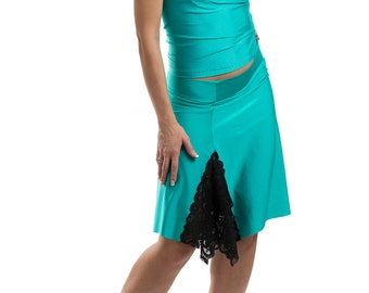 tango practice top and skirt, tango outfit, dance wear, stretchy skirt with lace, tango skirts, summer skirts