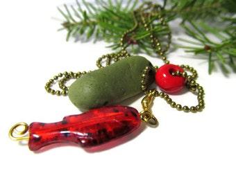 Christmas Pickle, Green Slag Glass, Slag Glass Stone, Green Stone Necklace, 24 Inch Chain, Bronze Chain, Red Glass Fish, Lake Michigan Stone