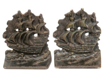 Cast Iron Ship Bookends, Vintage Library, Vintage Office