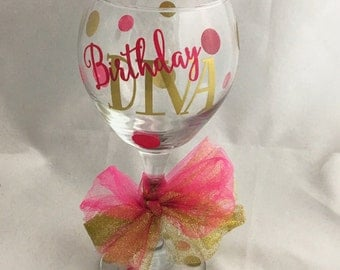 Birthday Diva Personalized Wine Glass