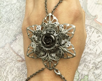 Steampunk Flower Bracelet and Ring Combo