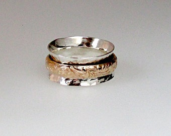 Worry ring, spinner ring, meditation ring,  two tone ring, silver and gold