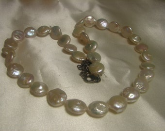 "Genuine Freshwater Coin Pearl Necklace-37 grms-19"" long-12mm coin pearls-sterling silver Lobster Claw 1578"