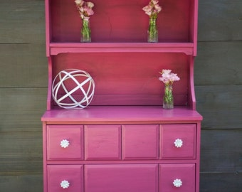 Magenta Dresser with Hutch Top