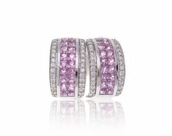 Multicolor Pink Sapphire & Diamond 18K Gold Earrings (2.83ct tw) SKU: 8515