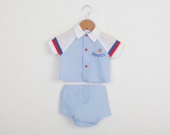 Vintage BaseBall Outfit Romper in Baby Blue / Vintage Baby Outfit / Vintage Baby Clothing Sets