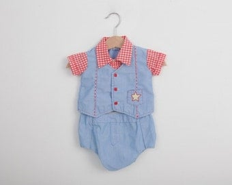 Vintage Sheriff Outfit Blue and Red / Vintage Baby Outfit / Vintage Baby Clothing Sets / 6 to 9 months