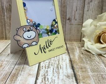 Bear-Hello Friend Shaker card