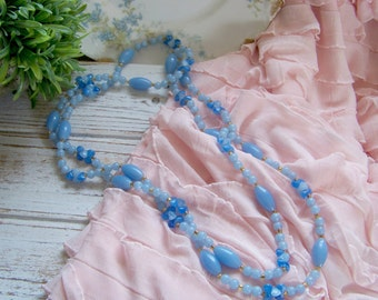 Vintage Blue Beaded Necklace, Blue Beads. Antique Necklaces, Vintage Jewelry, Antique Jewelry, Necklaces, Wedding Necklaces, Shabby