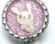 White Bunny Badge Reel, Kawaii ID, Lavender glitter, bunny with heart, Pink Flower Bead