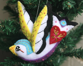 Hand Embroidered Felt Swallow  Plushie Ornament ~ Made to Order