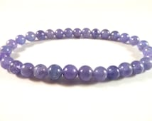 Tanzanite Stretch Bracelet High Quality 6mm Smooth Round Tumbled Bead Violet Flame Gemstones