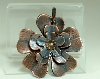 Copper Ruffled Flower Pendant