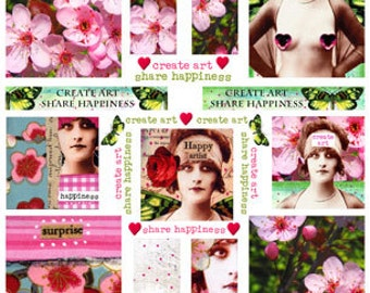 ARTCHIX Studio MUSE - Create Art Share Happiness - Cherry Blossoms and Butterflies - Instant Printable Digital Collage Sheet