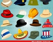 ON SALE 65% OFF Mk50 - Hats and Headgear Clipart Pack - Digital Scrapbook - Graphics - Clip art - Collage Sheets - Digistamps - Bolwer Hat -