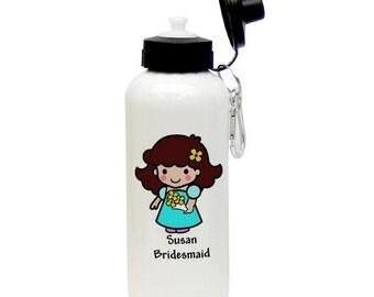 Personalized Bridesmaid Animated Aluminum Water Bottle