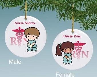 Personalized Nurse Animated Ceramic Ornament