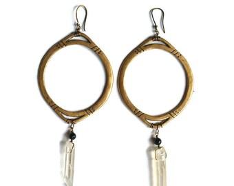 Otekah Amulet Hoop Earrings || Bronze jewelry, tribal,  boho earrings, bohemian, black tourmaline, turquoise, talisman, goddess,