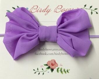 Lavender Bow Headband, Baby Headbands, Baby Girl Headbands, Infant Headbands, Baby Bow, Infant Bow, Girl Headband
