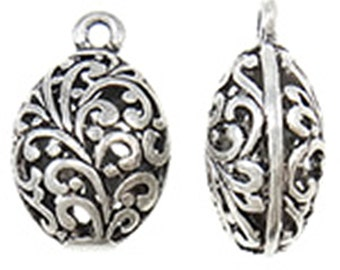2pc 27x17mm antique silver finish metal  oval hollow pendant-10151