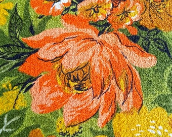 Vintage Bright Floral Terry Fabric 2 yd x 36 in