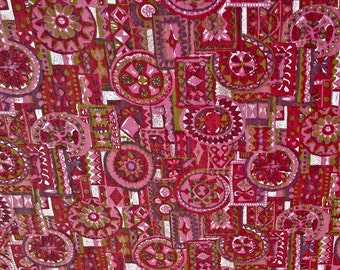 """Vintage 36"""" Wide Pink and Purple Graphic Print Fabric 3 yards and 5"""" long"""