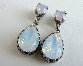 Estate Style Vintage Rose Water Opal and Winter White Opal Swarovski Crystal Earrings Cushion Pear