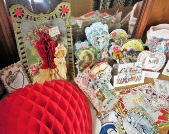 Big Lot 22 Used Valentines for Collecting or Crafting~ USA Germany Beistle Honeycomb, Victorian, Stand Up, Embossed, Die Cuts