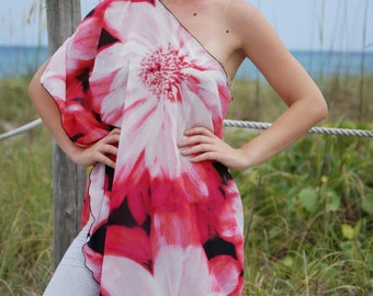 Ladies Digital Printed Pink Flower One Shoulder Chiffon Top Shirt
