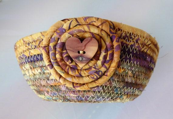 Handmade Rope Basket : Small coiled rope basket handmade in gold purple batik