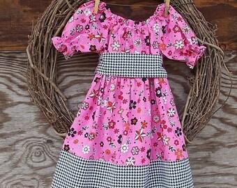 Girls Spring Dress, Girls Dress, Girls Pink Dress, Girls Black dress
