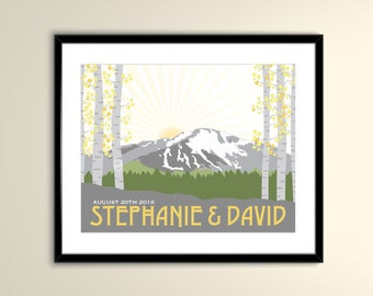 Pikes Peak Colorado Wedding Landscape 11x14 Poster - Can personalize with Names and date (frame not included)