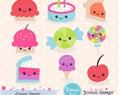 INSTANT DOWNLOAD - Kawaii Cake Clipart and Vectors for personal and commercial use