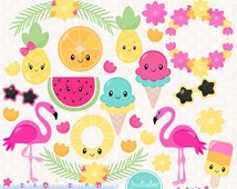 80% OFF - INSTANT DOWNLOAD - Summer Kawaii Clipart or tropical kawaii clip art for personal and commercial use